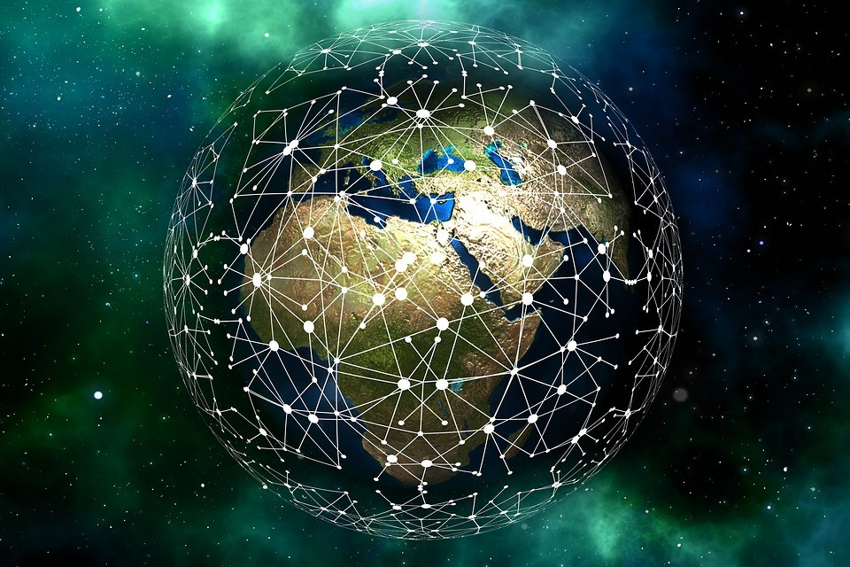 Information & news - picture of a networked Earth
